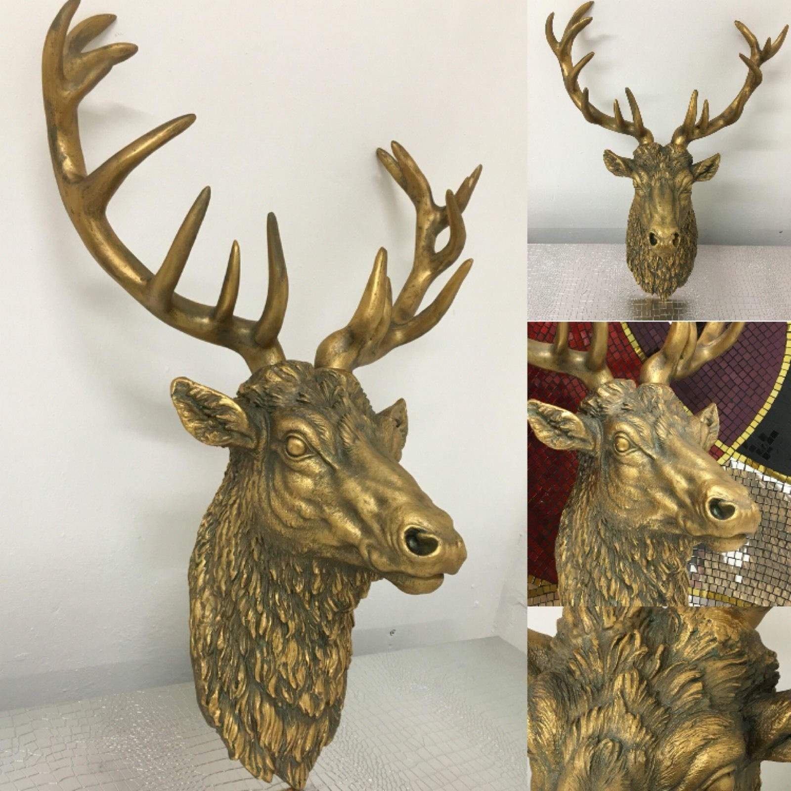 Antique Gold Stag Head Wall Art