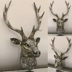 Antique silver stag head
