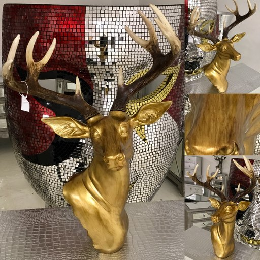 Antique Rich Gold Stag Deer Head