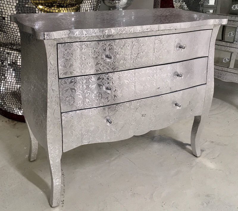 Silver Embossed 3 Drawer Chest Of Drawers