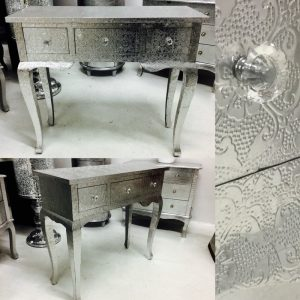 Silver Embossed 3-Drawer Console Table