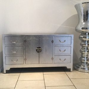 Moc Croc Silver Large Chest of Drawers / Sideboard