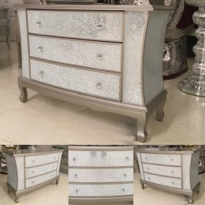 Crackle 3 Drawer Chest - Silver Trim