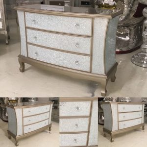 Crackle 3 Drawer Chest - Gold Trim