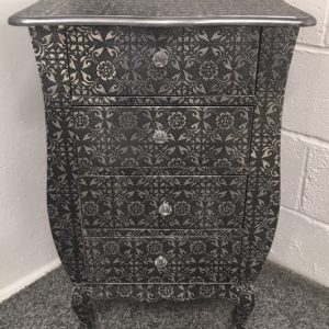 Blackened Silver Metal Embossed 4-Draw Bedside Cabinet