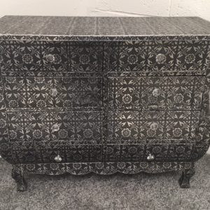 Blackened Silver Embossed Metal 8 Drawer Chest of Drawers