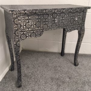 Blackened Metal Embossed 3 Drawer Dressing Table/Console Table