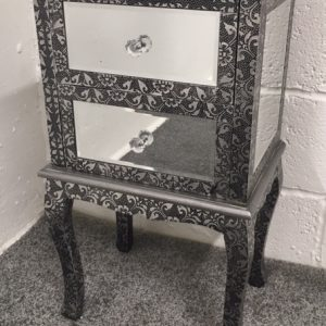Blackened Silver Metal Embossed Mirrored 2 Drawer Bedside