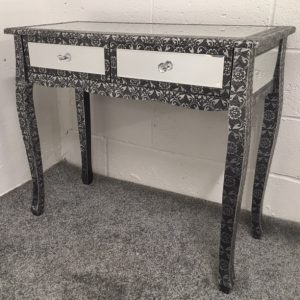 Metal Embossed Blackened Mirrored Effect Slim Leg Dressing / Console Table