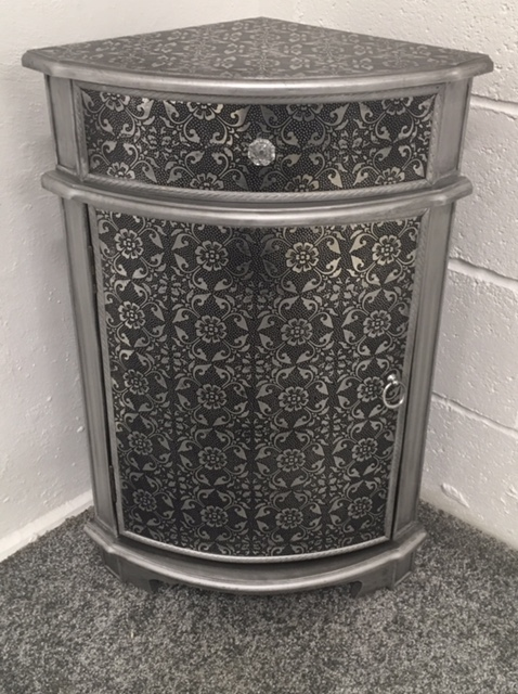 Blackened Silver Metal Embossed Corner Cabinet