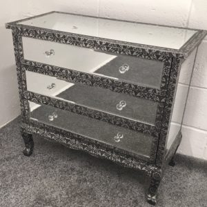 Blackened Silver Metal Embossed Mirrored Chest Of 3 Drawers