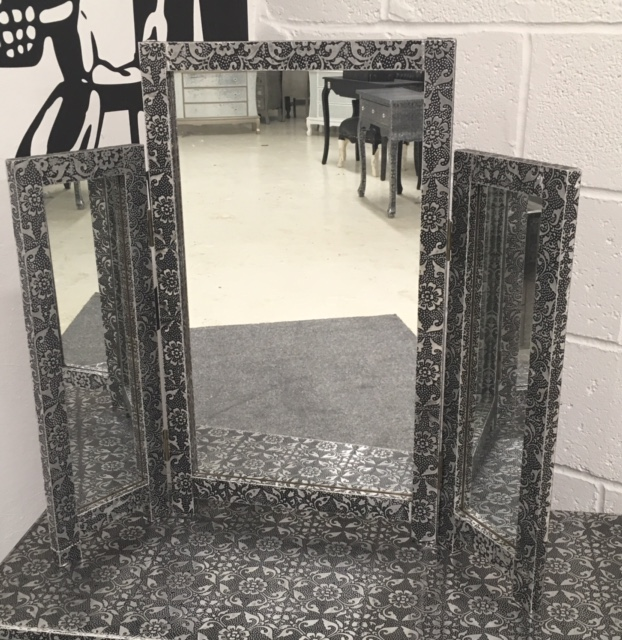Blackened silver metal embossed dressing table mirror