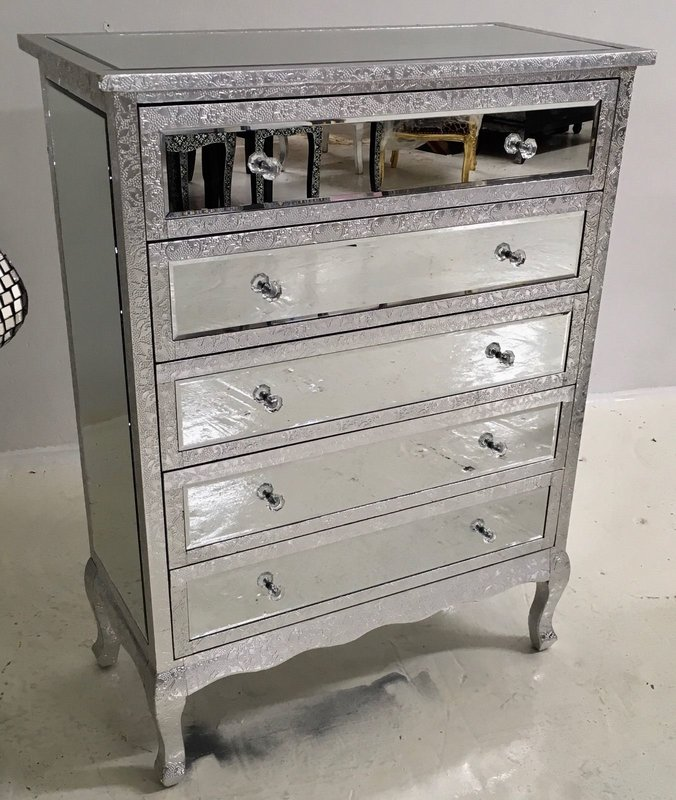 Silver Chest Of Drawers ~ Silver metal embossed drawer mirrored chest of drawers
