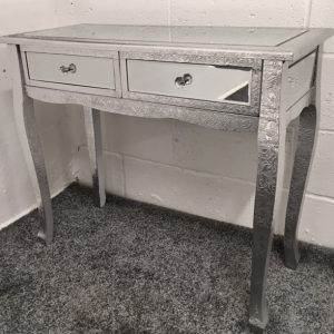 Silver Metal Embossed Mirrored Slim Leg Dressing Table / Console
