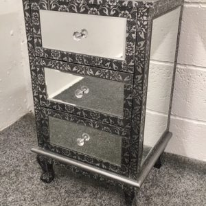 Blackened Silver Metal Embossed Mirrored 3 Drawer Bedside