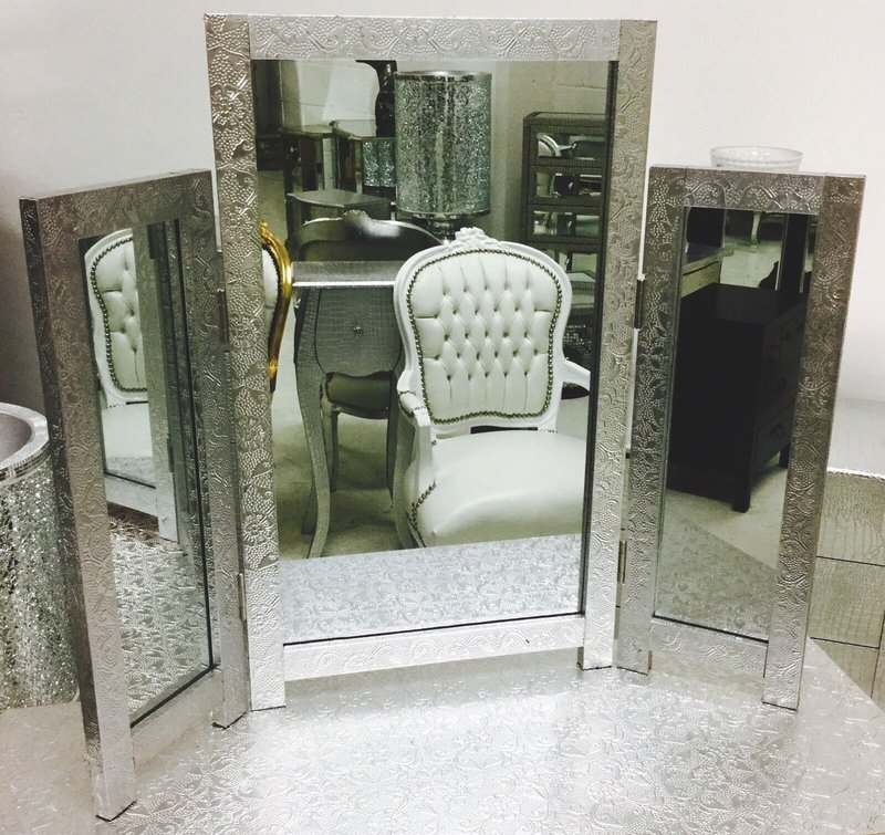 Silver Metal Embossed Dressing Table Mirror